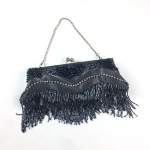 Vintage Gray Beaded Fringe Small Flapper 20s Purse